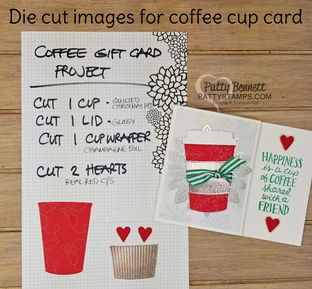 Die Cutting for the Year of Cheer / Coffee Cafe Starbucks gift card holder idea for Christmas gift, by Patty Bennett with the Luv 2 Stamp Group