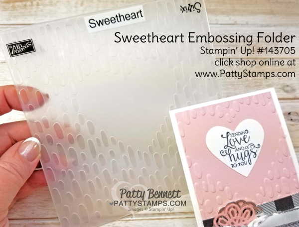 Ribbon of Courage note card - Sending Love and Hugs featuring Sweetheart Embossing folder from Stampin' UP!, by Patty Bennett