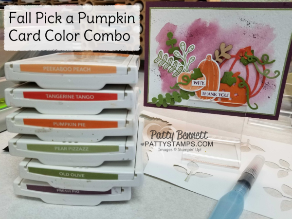Fall color combo for Pick a Pumpkin fall card featuring the Stampin' Up! bundle from the 2017 Holiday catalog.  Watercolor wash background created with Fresh Fig ink and Aquapainter on watercolor paper.