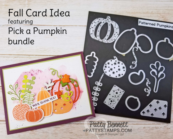Save 10% on the bundle! Pick a Pumpkin fall card featuring the Stampin' Up! bundle from the 2017 Holiday catalog.  Watercolor wash background created with Fresh Fig ink and Aquapainter on watercolor paper.