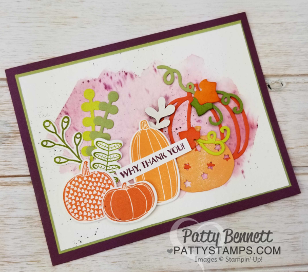 Pick a Pumpkin fall card featuring the Stampin' Up! bundle from the 2017 Holiday catalog.  Watercolor wash background created with Fresh Fig ink and Aquapainter on watercolor paper.