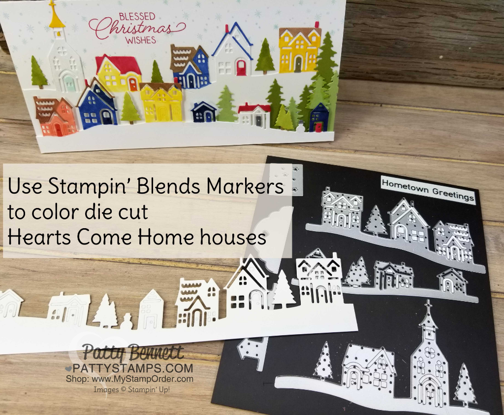 Hearts Come Home / Hometown Greetings thinlit dies - Christmas Village card idea colored with Stampin' Blends markers by Patty Bennett
