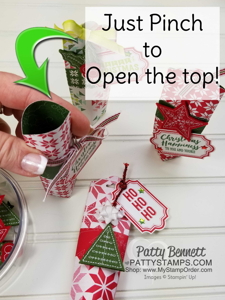 Quick and easy DIY Christmas / Holiday candy treat holders.  Self closing top, punched with the Scalloped Tag Topper punch.  Stampin' Up! Quilted Christmas paper and stithed felt embellishment accessories.