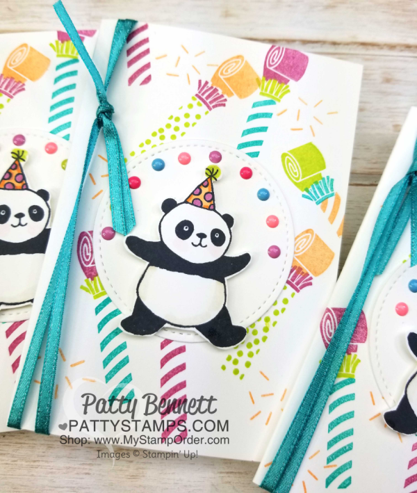 Party Panda celebration card idea featuring Picture Perfect Birthday stamp set from Stampin' Up!  New products for 2018. Card by Patty Bennett