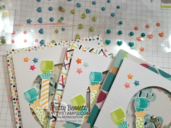 Use colorful enamel shapes on the Picture Perfect Party shaker cards by Patty Bennett featuring 2018 Stampin' UP! Occasions catalog products.