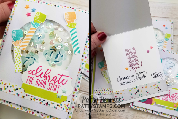 Celebrating the Luv 2 Stamp Group with Picture Perfect Party shaker cards by Patty Bennett featuring 2018 Stampin' UP! Occasions catalog products.