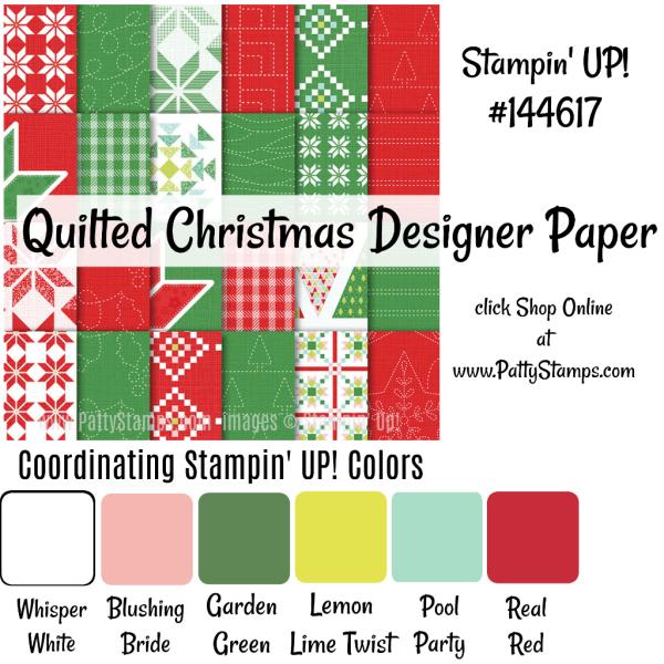 144617 Quilted Christmas Stampin Up designer paper shop: www.MyStampOrder.com