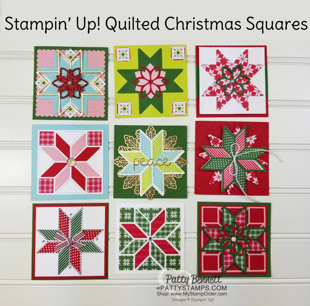 Stampin' UP! Quilted Christmas suite - Christmas Quilt paper squares by the Luv 2