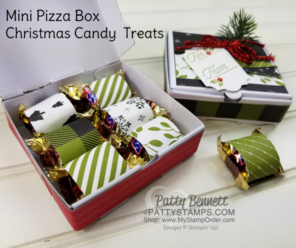 Mini Pizza Box treat featuring Merry Little Christmas Stampin' UP! Holiday catalog products, by Patty Bennett. Great neighbor gifts, teacher treats or stocking stuffers.