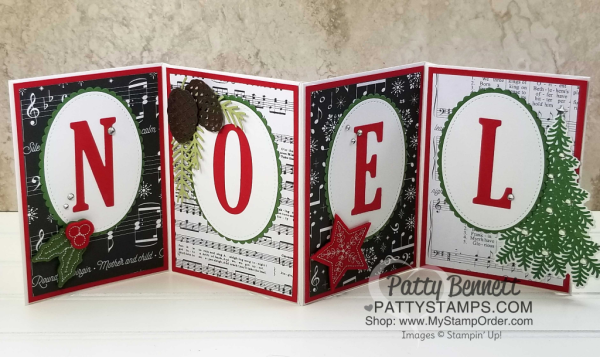 NOEL Christmas banner featuring STampin' UP! Merry Music designer paper and large letter alphabet dies by Patty Bennett