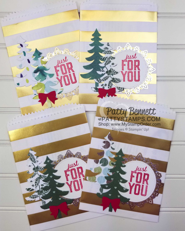 DIY Gold striped Christmas Gift Bags with die cut Santa's Sleigh Christmas Trees for the Luv 2 Stamp Group by Patty Bennett