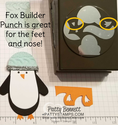 Use Fox Builder punch for the Many Mittens penguin feet and nose
