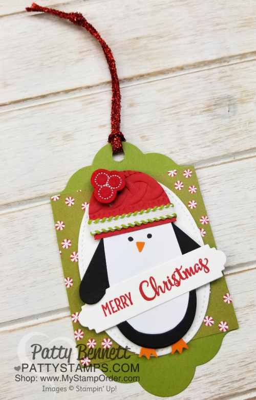 """Cute ornament or Christmas tag idea featuring Many Mittens penguin Penguin """"punch art"""" with Stampin' UP! Holiday catalog products, by Patty Bennett"""
