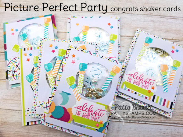 Picture Perfect Party shaker cards by Patty Bennett featuring 2018 Stampin' UP! Occasions catalog products.