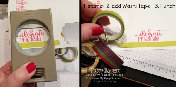 Washi Tape Tip for Picture Perfect Party shaker cards by Patty Bennett featuring 2018 Stampin' UP! Occasions catalog products.