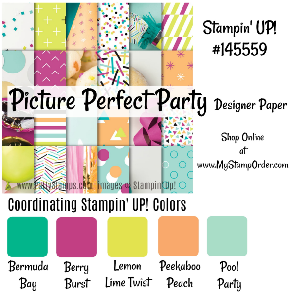 Picture Perfect Party designer paper from the Stampin' UP! 2018 cccasions catalog. shop #145559 online at www.MyStampOrder.com