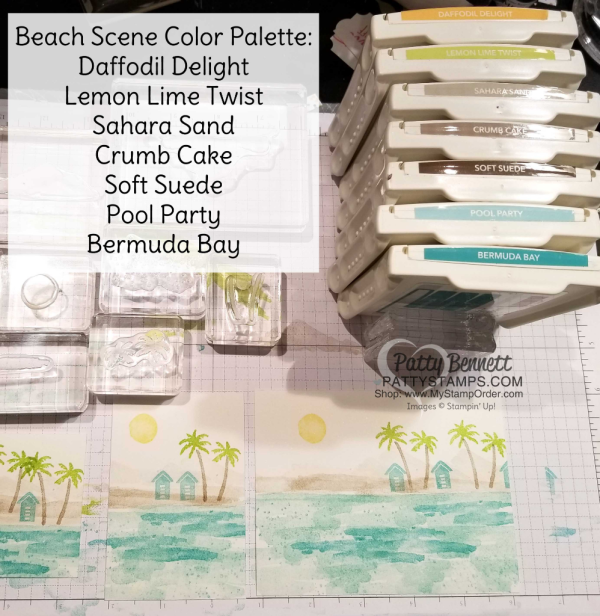 Waterfront stamp set from Stampin' Up!: 2018 Occasions catalog. Color Combo for Beach scene card sample ideas by Patty Bennett