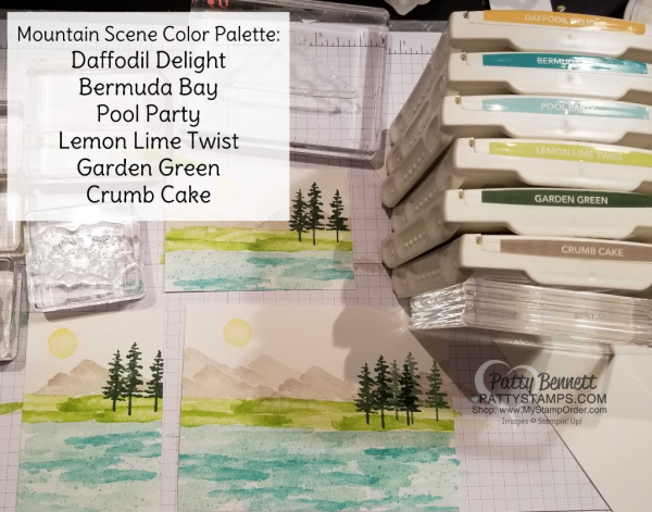Waterfront stamp set from Stampin' Up!: 2018 Occasions catalog. Color combo idea for the mountain scene card sample ideas by Patty Bennett