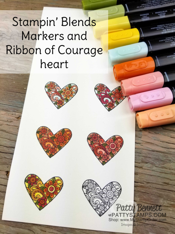 Fun coloring Ribbon of Courage heart images with Stampin' UP! Stampin' Blends markers.