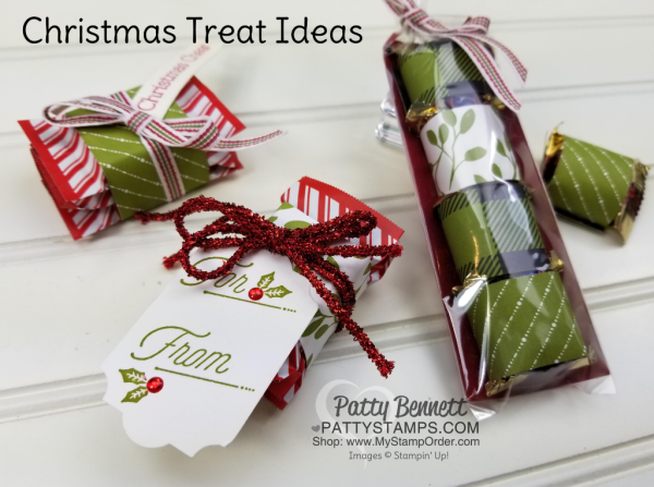 Merry Little Christmas candy treat featuring Stampin' UP! Holiday catalog products, by Patty Bennett. Great neighbor gifts, teacher treats or stocking stuffers.