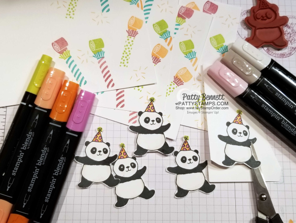 Stampin' Blends marker colors for the Party Panda celebration card idea featuring Picture Perfect Birthday stamp set from Stampin' Up!  New products for 2018. Card by Patty Bennett
