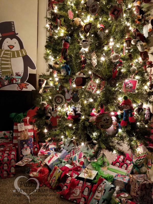 Bennett family christmas tree penguins 2017 pattystamps