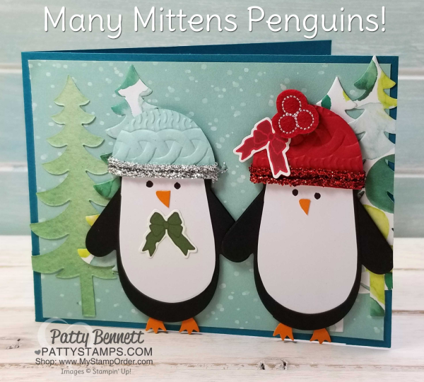 Many Mittens penguin Penguin Christmas card featuring Stampin' UP! Holiday catalog products, by Patty Bennett