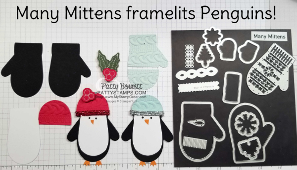 Many Mittens penguin Penguin Christmas idea featuring Stampin' UP! Holiday catalog products, by Patty Bennett