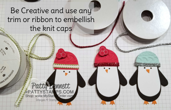 Use the Cable Knit embossing folder and ribbon or tinsel trims for the Many Mittens Penguin caps, by Patty Bennett
