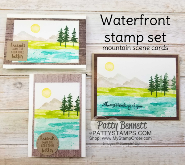 Waterfront stamp set from Stampin' Up!: 2018 Occasions catalog. Mountain scene card sample ideas by Patty Bennett
