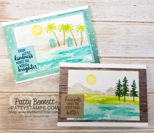 Waterfront stamp set from Stampin' Up!: 2018 Occasions catalog. Beach scene and mountain scene card sample ideas by Patty Bennett