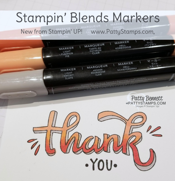 Color Me Happy Thank You card featuring image colored with Stampin' Blends alcohol markers. Note Card idea by Patty Bennett