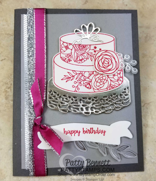 Cake Soiree birthday card idea featuring Stampin' UP! Occasions catalog products by Patty Bennett