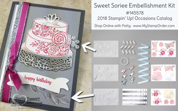 Sweet Soiree embellishment kit accessories on a handstamped Cake Soiree birthday card by Patty Bennett