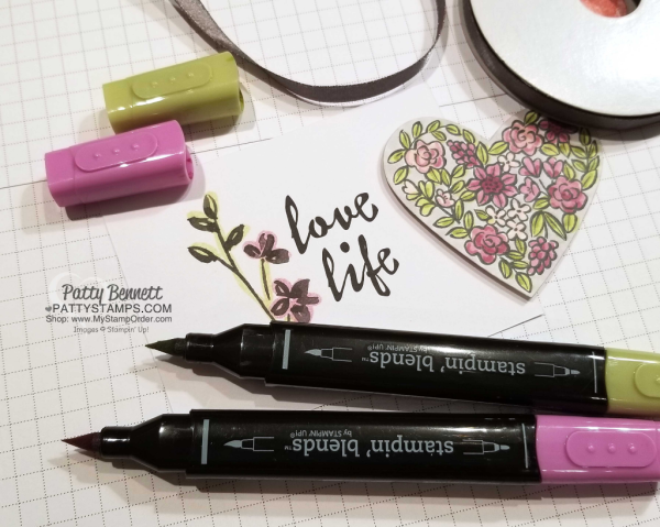 Heart Happiness card idea featuring floral heart stamp colored with Stampin' UP! Stampin' Blends markers. Petal Passion Memories & More card also colored with Stampin' Blends