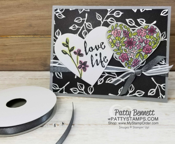 Heart Happiness card idea featuring floral heart stamp colored with Stampin' UP! Stampin' Blends markers. Petal Passion Memories & More card and Petal Passion desgner paper complete this black and white card idea.