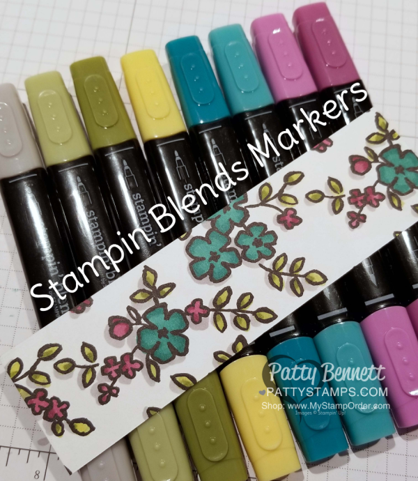 Coloring the Petal Passion designer paper from Stampin' Up! with the Stampin' Blends markers.  Add shadowing with the Light Smoky Slate Stampin' Blends marker.  by Patty Bennett