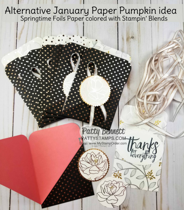 Alternate Paper Pumpkin card ideas for January 2018, featuring Stampin' UP! Springtime Foils Sale-a-Bration paper!  Pocket card ideas by Patty Bennett