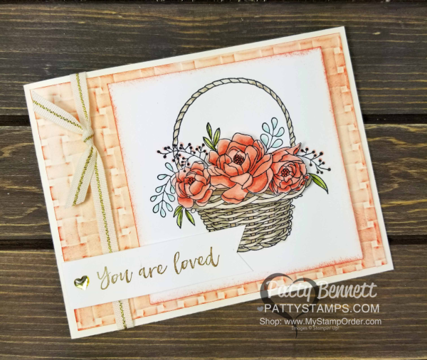 """Blossoming Basket bundle featuring stamp set and Basket Weave embossing folder - new Stampin' UP! Sale-a-Bration """"gift with purchase"""" reward, through 3-31-18. Shop: www.MyStampOrder.com"""