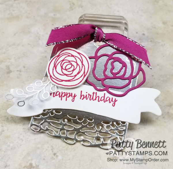 Sweet Soiree birthday gift tag idea. Stampin' UP! Occasions catalog 2018.  by Patty Bennett