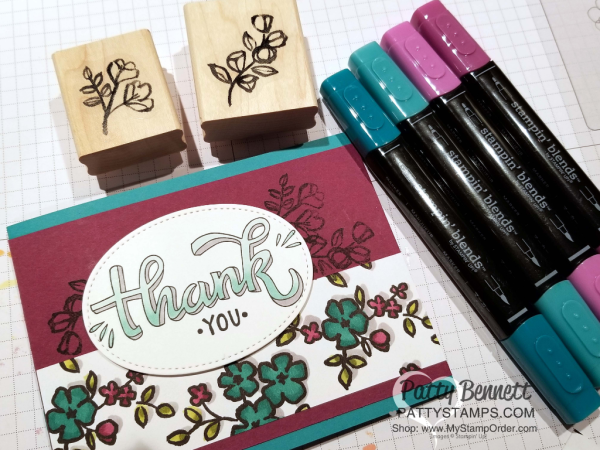 Coloring the Petal Passion designer paper from Stampin' Up! with the Stampin' Blends markers.  Add shadowing with the Light Smoky Slate Stampin' Blends marker.  Thank you image from the Color Me Happy stamp set. by Patty Bennett