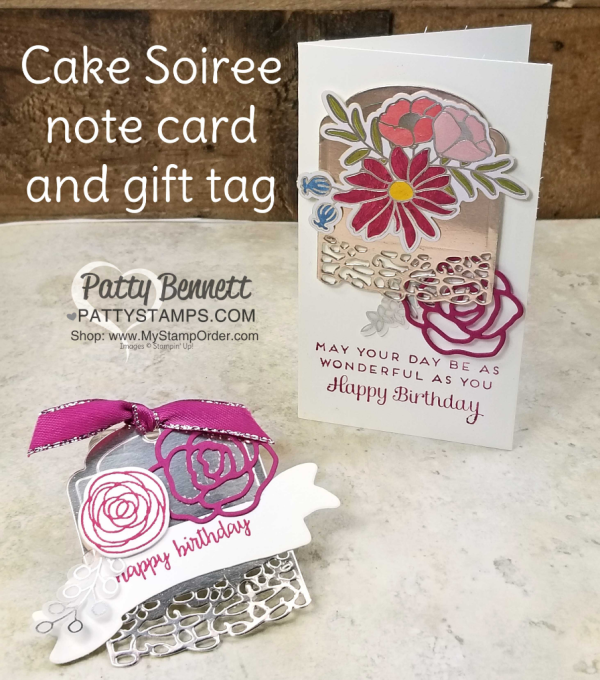 Sweet Soiree birthday card and gift tag idea. Stampin' UP! Occasions catalog 2018. by Patty Bennett
