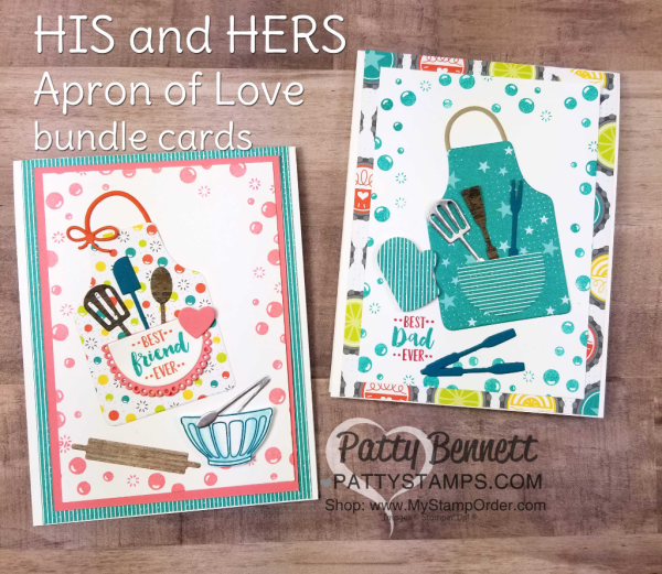 """Apron of Love """"His and Hers"""" cards - cute for the baker and BBQ chef in your life! Featuring Stampin' UP! Fruit Basket set and Bubbles & Fizz Sale-a-Bration paper, by Patty Bennett"""