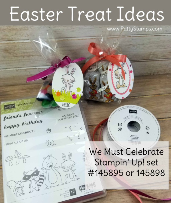 Easter Treat Cello Bag idea featuring Stampin' Up! We Must Celebrate bunny stamp and Stampin' Blends markers, by Patty Bennett