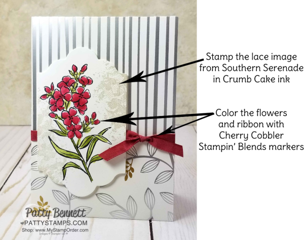 Tips for creating a Handmade floral cards featuring Stampin' UP! Southern Serenade stamp set, Springtime Foils paper and Stampin' Blends alcohol markers.  Cards by Patty Bennett