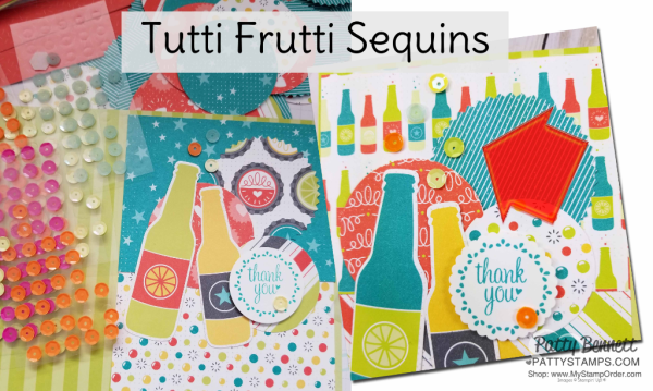 Bubbles & Fizz soda pop bottle cards featuring Stampin' Up! Sale-a-Bration paper and Tutti Frutti cards & envelopes, by Patty Bennett