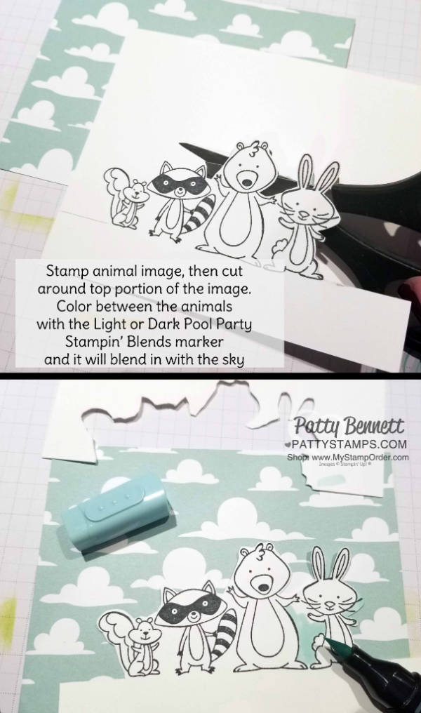 Tips for creating the We Must Celebrate fun animal card colored with Stampin' Blends markers. Stampin' UP! Myths & Magic cloud design paper and Picnic Basket grass die.  Card by Patty Bennett