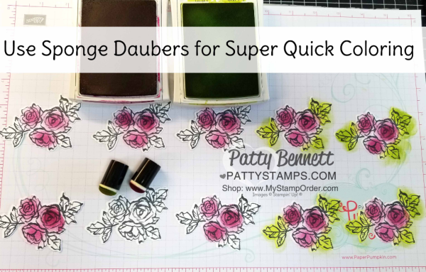How I used my sponge daubers to color the flowers for my Handstamped Petal Palette floral cards featuring Sponge Daubers and Stampin' UP! Petal Passion designer paper, by Patty Bennett