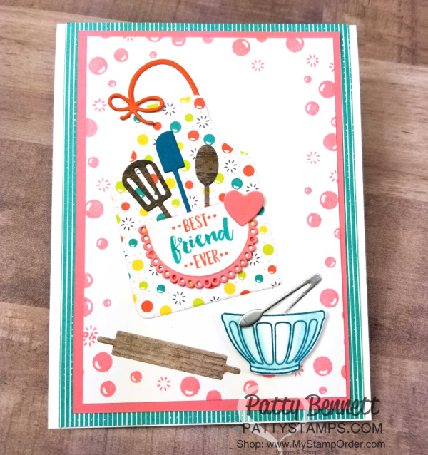 Apron of Love card - cute for the baker or chef in your life! Featuring Stampin' UP! Fruit Basket set and Bubbles & Fizz Sale-a-Bration paper, by Patty Bennett