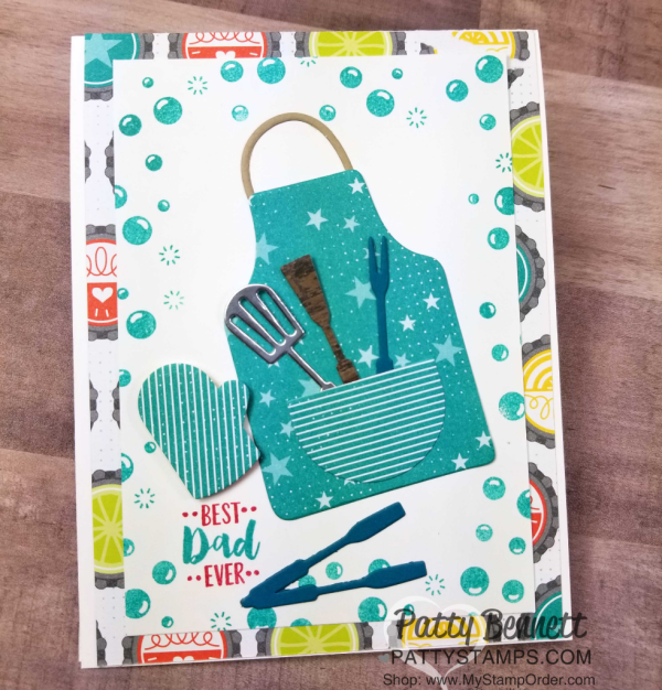 Apron of Love card idea - fun for the BBQ chef in your life! Featuring Stampin' UP! Fruit Basket set and Bubbles & Fizz Sale-a-Bration paper, by Patty Bennett